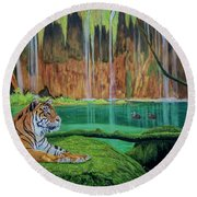 Tiger At The Waterfall  Round Beach Towel by Manuel Lopez