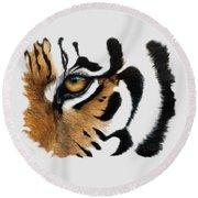 Tiger Eye Round Beach Towel by Lucie Bilodeau