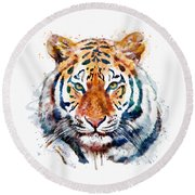 Tiger Head Watercolor Round Beach Towel by Marian Voicu