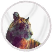 Tiger // Solace - White Background Round Beach Towel by Amy Hamilton