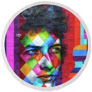 Times They Are A Changing Giant Bob Dylan Mural Minneapolis Detail 1 Round Beach Towel by Wayne Moran