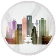 Tokyo  Cityscape Round Beach Towel by Dim Dom