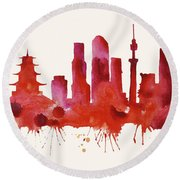 Tokyo Skyline Watercolor Poster - Cityscape Painting Artwork Round Beach Towel by Beautify My Walls