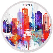 Tokyo Watercolor Round Beach Towel by Dim Dom