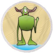 Tollak Round Beach Towel by Uncle J's Monsters