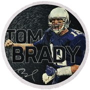 Tom Brady Round Beach Towel by Taylan Apukovska