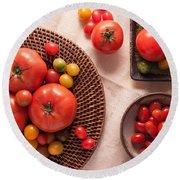 Tomatoes Round Beach Towel by Ana V Ramirez