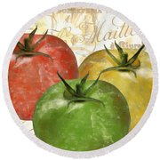 Tomatoes Tomates Round Beach Towel by Mindy Sommers