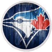 Toronto Blue Jays Barn Door Round Beach Towel by Dan Sproul
