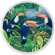 Toucan Talk Round Beach Towel by Lisa Graa Jensen