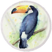 Toucan Watercolor Round Beach Towel by Olga Shvartsur