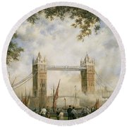Tower Bridge - From The Tower Of London Round Beach Towel by Richard Willis