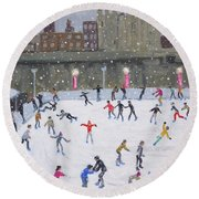 Tower Of London Ice Rink Round Beach Towel by Andrew Macara