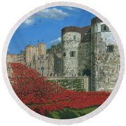 Tower Of London Poppies - Blood Swept Lands And Seas Of Red  Round Beach Towel by Richard Harpum