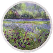 Trackway Past The Iris Field Round Beach Towel by Timothy Easton