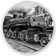 Train - Steam Engine Locomotive 385 In Black And White Round Beach Towel by Paul Ward