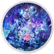 Transcension Round Beach Towel by Cameron Gray