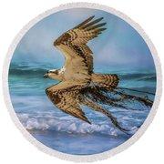 Treasures For The Nest Osprey Art Round Beach Towel by Jai Johnson