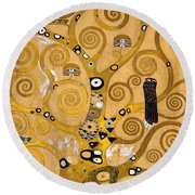 Tree Of Life Round Beach Towel by Gustav Klimt