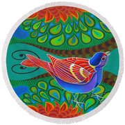 Tree Sparrow Round Beach Towel by Jane Tattersfield