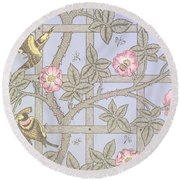 Trellis   Antique Wallpaper Design Round Beach Towel by William Morris