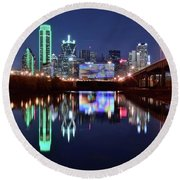 Trinity River And Pond Round Beach Towel by Frozen in Time Fine Art Photography