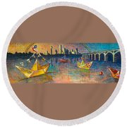 Trinity River Origami Round Beach Towel by Tanya Joiner Slate