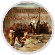 Triumph Of Faith    Christian Martyrs In The Time Of Nero Round Beach Towel by Eugene Romain Thirion