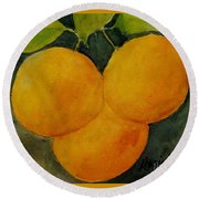 Trois Belle Pampelmousse Round Beach Towel by Maria Hunt