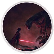 Troopers Vs Space Cockroaches 9 Round Beach Towel by Guillem H Pongiluppi