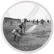 Troops Playing Cricket Round Beach Towel by Underwood Archives