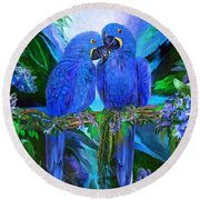 Tropic Spirits - Hyacinth Macaws Round Beach Towel by Carol Cavalaris