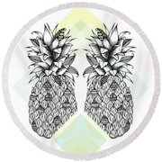 Tropical Round Beach Towel by Barlena Illustrations