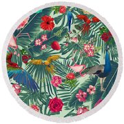 Tropical Fun Time  Round Beach Towel by Mark Ashkenazi