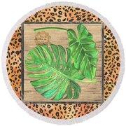 Tropical Palms 2 Round Beach Towel by Debbie DeWitt