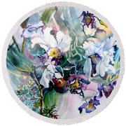 Tropical White Orchids Round Beach Towel by Mindy Newman