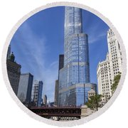 Trump Tower Chicago Round Beach Towel by Adam Romanowicz