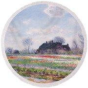 Tulip Fields At Sassenheim Round Beach Towel by Claude Monet