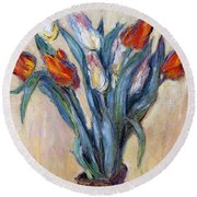 Tulips Round Beach Towel by Claude Monet