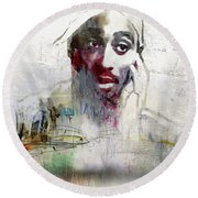 Tupac Graffitti 2656 Round Beach Towel by Jani Heinonen