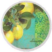 Tuscan Lemon Tree - Citrus Limonum Damask Round Beach Towel by Audrey Jeanne Roberts
