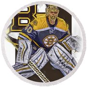 Tuukka Rask Boston Bruins Oil Art 1 Round Beach Towel by Joe Hamilton