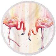 Two Flamingos Watercolor Round Beach Towel by Olga Shvartsur