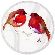 Two Little Birds Round Beach Towel by Nancy Moniz