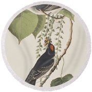 Tyrant Fly Catcher Round Beach Towel by John James Audubon