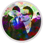 U2 Band Portrait Paint Splatters Pop Art Round Beach Towel by Design Turnpike