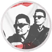 U2 Graffiti Tribute Round Beach Towel by Dan Sproul