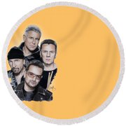 U2 Round Beach Towel by Melanie D