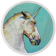Unicorn Round Beach Towel by Michael Creese