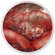 Unicorn Of The Poppies Round Beach Towel by Carol Cavalaris